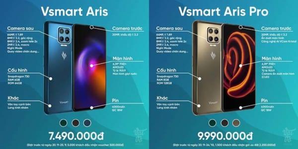 Thông số Vsmart Aris vs Aris Pro