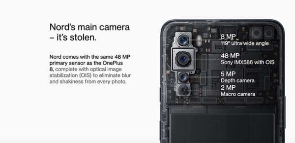 OnePlus Nord có tổng cộng sáu camera với 2 ở mặt trước và 4 ở mặt sau